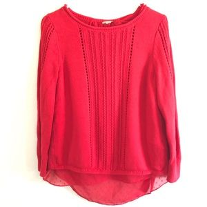 Lucky Brand M Red Scoop Lace dots Sweater Chiffon